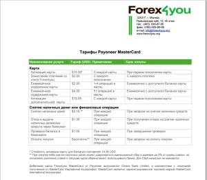 Тарифы Forex4you